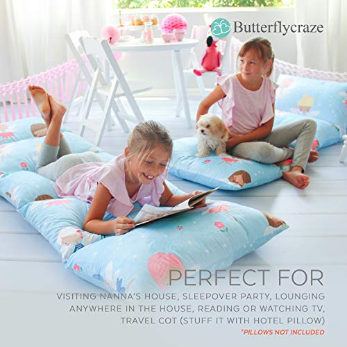 Butterfly Craze Kid's Floor Pillow Bed Cover